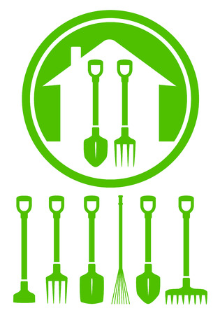 garden green icon with tools set silhouette Vector