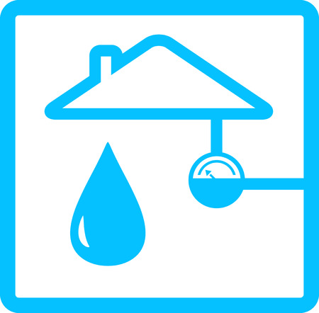 blue icon for pipeline with meter of water and drop Stock Illustratie