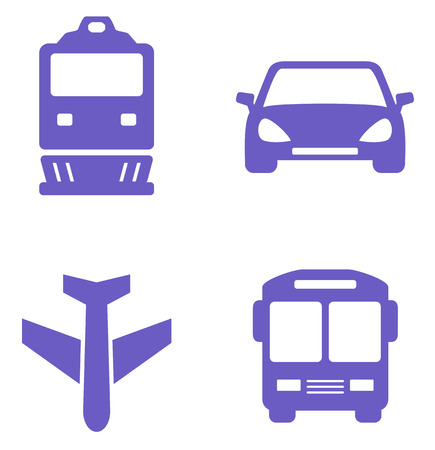 locomotion: transport icon set with train, plane, car and bus silhouette
