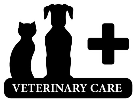 black veterinary symbol with animal pet silhouette