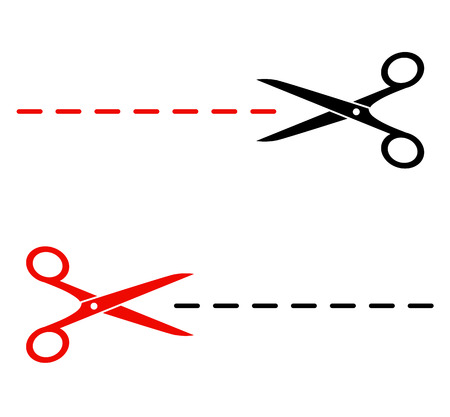 isolated black and red scissors silhouette with cutting lines Vector