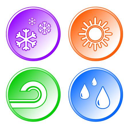 aeration: set isolated weather icons on white background