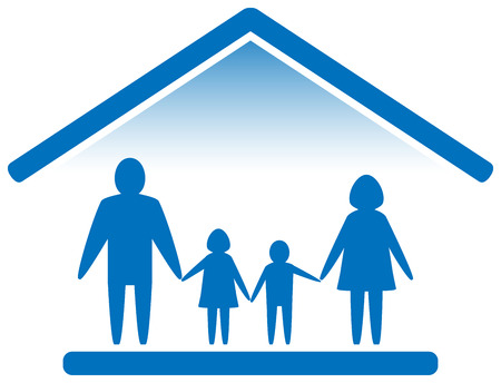big family silhouette on home blue icon