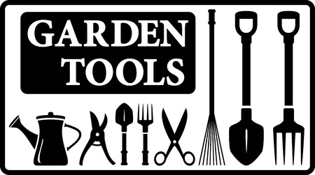 fertilize: set black isolated garden tools silhouette collection in frame