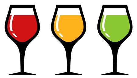 sip: Conjunto de la silueta de cristal de colores con las bebidas alcoh�licas