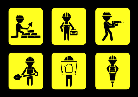 perforator: set yellow construction industry icons with builders