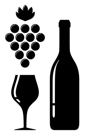 wine grape: black icon with wine glass and bottle silhouette
