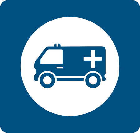 infirmary: health care symbol with blue medicine ambulance icon