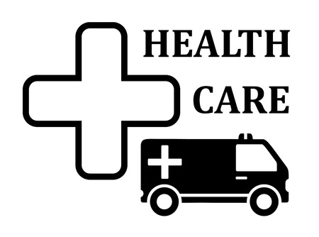 infirmary: medicine icon with cross and ambulance car silhouette