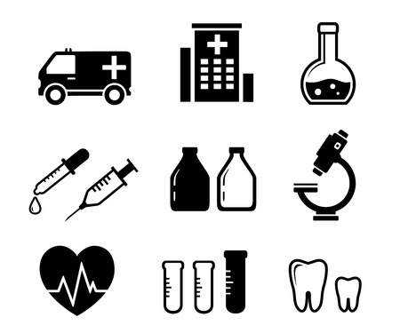 mixture: set black isolated icons with objects for medicine industry