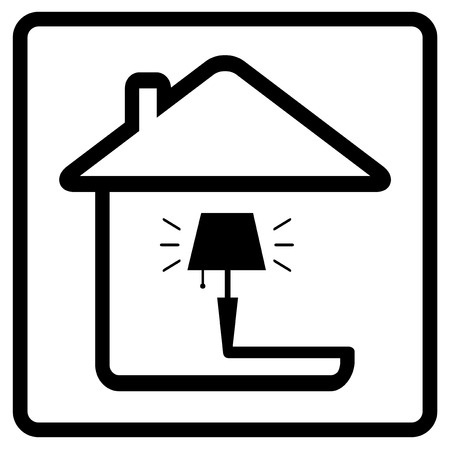 house ware: lamp on home. black icon from the set line style