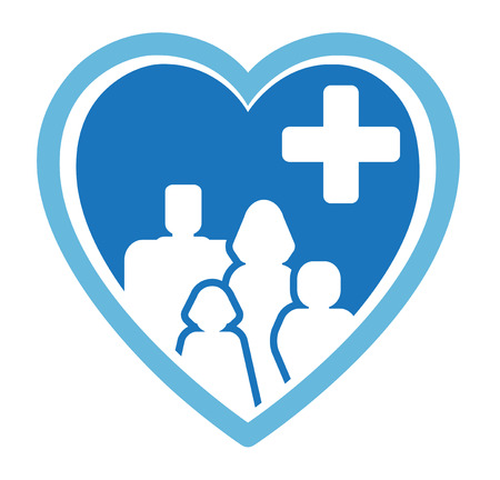 infirmary: blue isolated medicine icon with family on heart