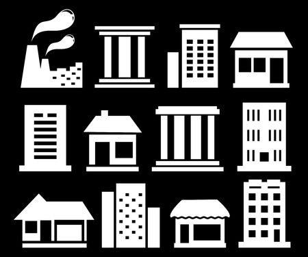 architecture pictogram: set isolated white urban buildings on black background