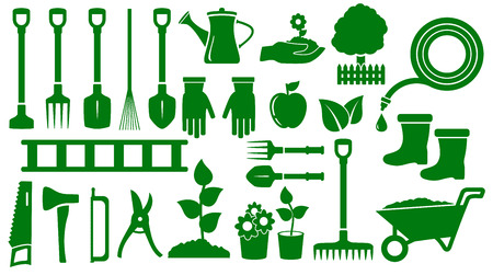 set isolated green garden tools for landscaping work