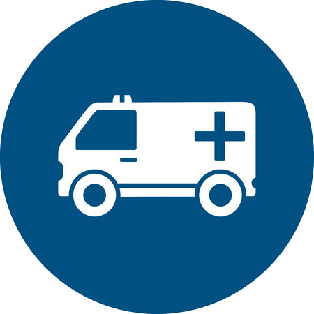 infirmary: ambulance car silhouette on blue round icon