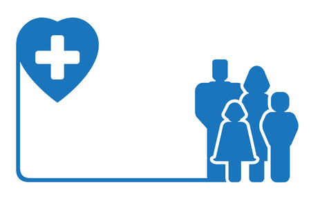 medicare: blue icon with family silhouette on medical symbol Illustration