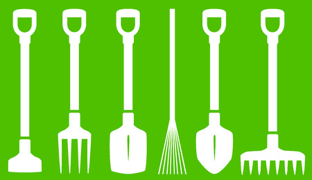 bayonet: isolated set with garden tools on green background