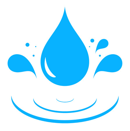 icon with blue water drop splash silhouette