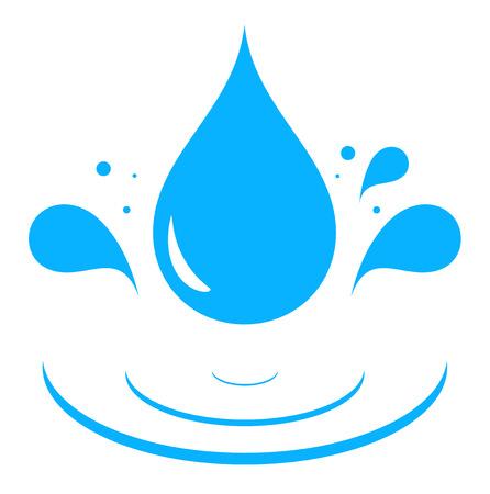 agua grifo: icono con agua azul chapoteo de la gota de la silueta Vectores