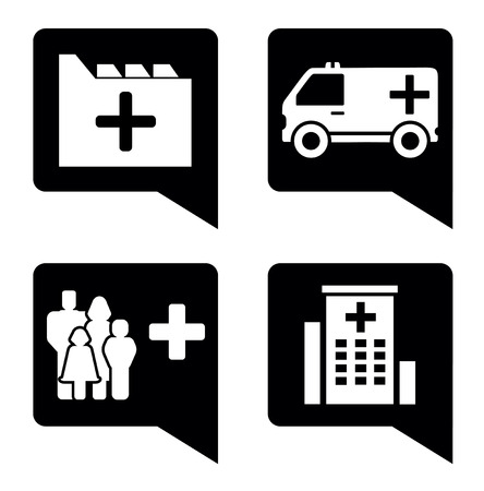 infirmary: set four isolated black medical pointer icons