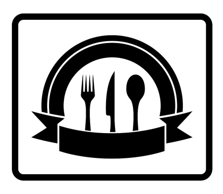 knife fork: isolated black icon with spoon, knife, fork
