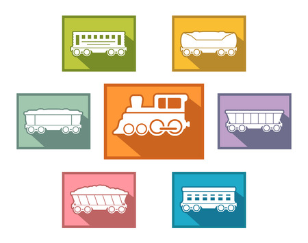 lading: railroad train set icons for passenger or cargo industry