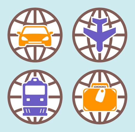 locomotion: travel isolated icons set on flat design style Illustration