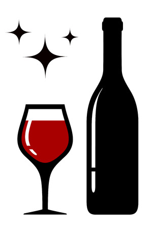 white wine: wine glass and bottle silhouette with star