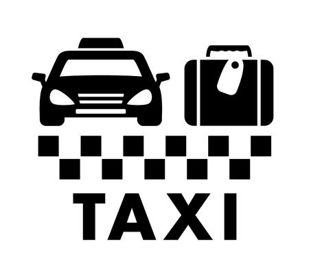 jorney: black travel symbol with bag and taxi car icon