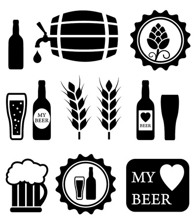 brew beer: beer isolated objects set on white background