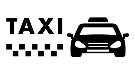 fare: black taxi car silhouette on white background