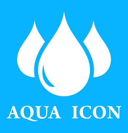 aqueduct: blue icon with three droplet silhouette on blue background