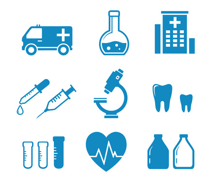 mixture: set blue medical industry objects on white background Illustration