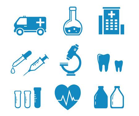 adviser: set blue medical industry objects on white background Illustration