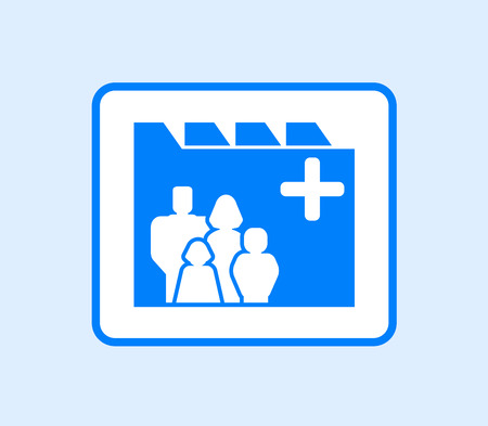 medical record: blue medical record icon with family silhouette
