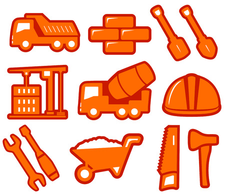bricklayer: set yellow industrial tools isolated icons on flat design style