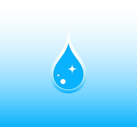 wetness: pure blue water background with drop silhouette Illustration