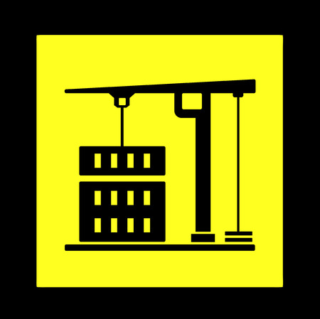 constructional: construction crane black silhouette on yellow icon