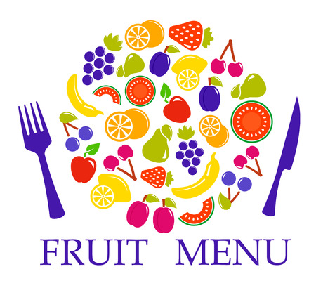 morsel: dieting fruit set for table menu with fork and knife Illustration
