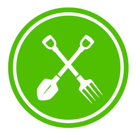 pruner: white garden tools silhouette on round green icon
