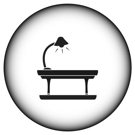house ware: round icon with lamp on table silhouette Illustration