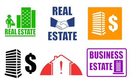 hypothec: set isolated colorful business real estate icons Illustration