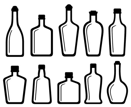 isolated on white: set isolated white glass alcohol bottles silhouette