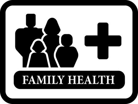 personal care: black family health icon for family medical industries Illustration