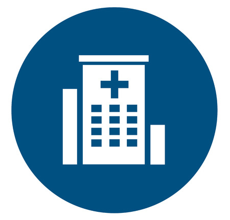 medical building: medical icon with white hospital building silhouette Illustration