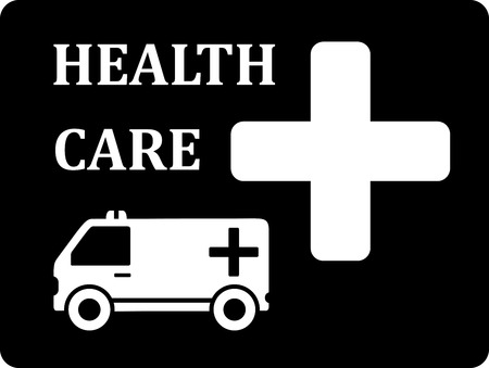 urgently: black icon with white ambulance car silhouette