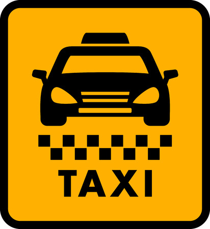 yellow taxi: cab car silhouette on yellow taxi icon. passenger transportation symbol