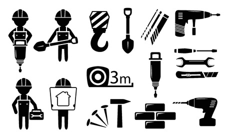 drill bit: black isolated tools and builders silhouette  set Illustration
