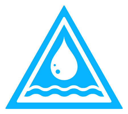 drinkable: blue water drop triangular sign with river wave on white backdrop