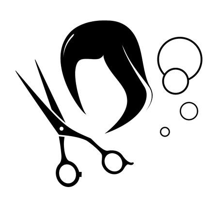 peluca: Icono del peluquero estilo con herramientas y peluca silueta Vectores